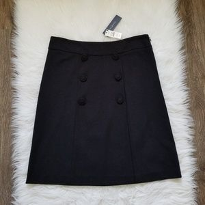 NWT Talbots Black Buttons A-Line Skirt